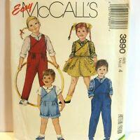 McCalls 3890 Pattern Boys Girls Overalls ShortAll Jumper Shirt Easy Size 4 VTG