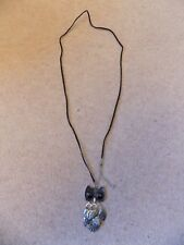Old Necklace Owl Tree Metal Bird Eyes Pendant Chain Cord LONG 36 Inch D