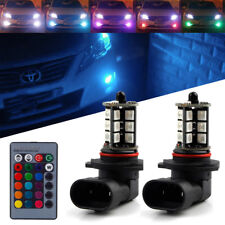 (2) 7-Color RGB 9005 LED Bulbs For Fog Light Driving Lamps w/ Wireless IR Remote