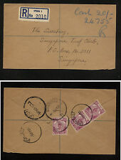Malaya, Ipoh  registered cover to  Singapore  1957      AT0515