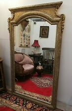 Very large vintage floor standing French wood & plaster gilded mirror [E236]