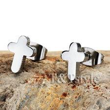 T&T Stainless Steel Polished CROSS Stud Earrings