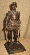 Fine Antique Bronze Sculpture Knight in Armor King Arthur English