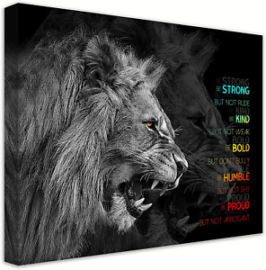 Animal Lion Canvas Wall Art Motivational Inspirational Quotes Picture Canvas Pri