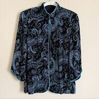 Alex Evenings Black Blue Silver Glitter Paisley Formal Jacket Womens Medium