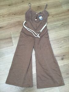 WOMENS BROWN STRIPED STRAPPY V NECK WIDE LEG JUMPSUIT BY PRIMARK SIZE 8 BNWT