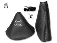 Gear & Handbrake Gaiter For Mazda MX5 MK3 2 Panels Leather Embroidery White