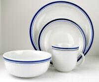 Four Piece Set Pottery Barn Bistro Blue Porcelain 1 Dinner 1 Salad 1 Bowl 1 Mug