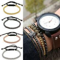 Charm Women/Men Beads Balls 18K Gold Braided Macrame Bracelet Wrap Handmade