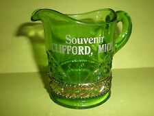 RARE Antique Souvenir Glass Clifford MIchigan MI Mich Green Glass EAPG Pitcher