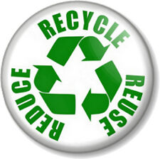"REDUCE REUSE RECYCLE 25mm 1"" Pin Button Badge Save The Planet Environment Green"