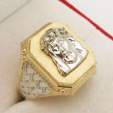 10K Yellow White Gold Men's Jesus Face Ring