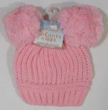 Baby Babies Boys Girls Pink Blue White Knitted Winter Bobble Hat Newborn Months
