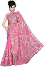 Wedding Women Sequin Embroidery work Saree Shari Sari fabric drape Bellydance G1
