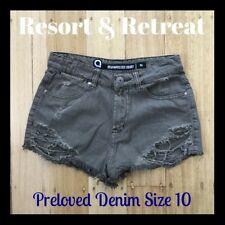 Distressed Denim Shorts, Size 10, Preloved, Khaki, High Waisted, Great Cond.