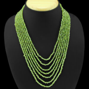 BREATHTAKING QUALITY 349.00 CTS NATURAL 7 LINE GREEN PERIDOT BEADS NECKLACE (RS)