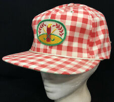 Vtg Golf Hat Embroidered Patch Country Club Logo Picnic Plaid Pattern Cap Driver