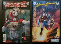 Harley Quinn 25th #1 & Wonder Woman 75th Anniversary #1 Jim Lee Variant NM+