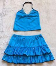 Dance Outfit, 2-Piece Girls Halter Top & Skort, Size 7/8, Blue, Rhinestone Neck