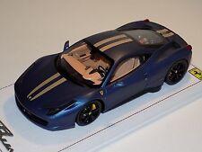 1/18 BBR Ferrari 458 Italia in Matt AbuDhabi Blue with Gold Stripe Black Wheels