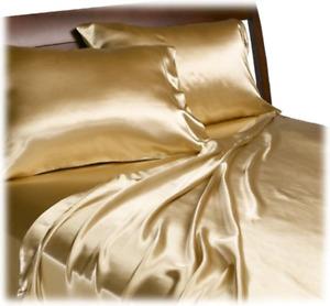 Satin Bed Sheets Queen Size Silk Feel Bedding Luxury Bed Comfort Bedroom 4 Pcs