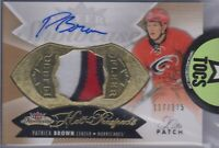Patrick Brown 2014-15 Fleer Showcase Hot Prospects Patch/Auto 117/175 Hurricanes