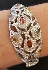 $600Genuine 11.20CT Multi Natural Sapphire 925 Sterling Silver Bangle Bracelet