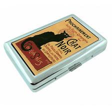 Vintage Poster D51 Silver Cigarette Case / Metal Wallet Black Cat Chat Noir
