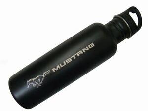 Mustang Stainless Steel Water Bottle - Black - Sleek Design & Laser Etched Logo