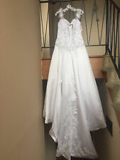 Alfred Angelo Size 8 White Wedding Dress womens white gown pearls beaded crystal