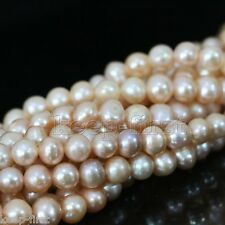 "7-8mm Genuine Natural Pink Freshwater Pearl Near Round Loose Beads 15""AAA++"