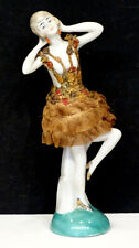 Antique Risque Nude German Deco Flapper Porcelain 2-Pc Half-Doll Figurine
