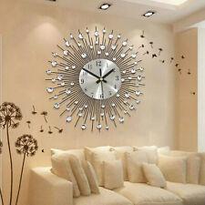 Modern Luxury Large Wall Clock Quartz Art Round Diamond Living Room Deco 33x33cm