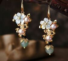 Shell Flower Pearl Earrings Classic Gold Color Ethnic Stones Jewelry For Women