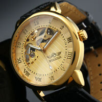 Mens Watch Mechanical Gold Dial Leather Strap Hand-winding Skeleton Business