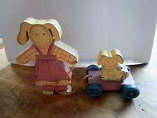 Carol Wright Gifts Wooden Animal Mother with Baby Pulling a Cart~ Dog/Bunny?