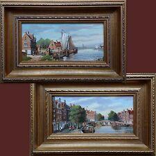 J V Riemsdyk, la paire néerlandaise originale amstadam peintures à l'huile sur panneau-Canal de scènes