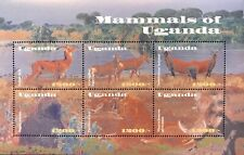 Uganda Mammals Stamps Sheet 2002 Mnh Lion Antelope Baboon Wild Animals Wildlife