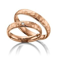 HAMMERED FINISH  MATCHING HIS & HERS DIAMOND WEDDING BANDS RINGS,14K ROSE GOLD