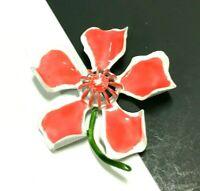 Vintage MOD 60's Coral Orange Pink & White Enamel FLOWER Brooch Pin LOT RR138i