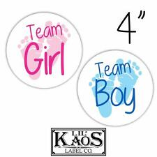 12 Gender Reveal Stickers Labels Shirt Tags Party Baby Team Boy Girl Footprints