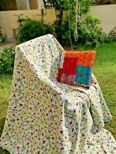 Cotton Kantha floral Print bedspread handmadeThrow Blanket Boho Quilt-Beautiful