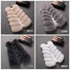 Faux Fox Fur Waistcoat Women's Warm Gilet Outwear Long Slim Vest Jacket Coat