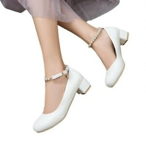 Womens Lolita Mary Jane Casual Ankle Strap Low Heels Dress Office Party Shoes B