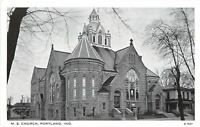 Portland Indiana~Methodist Episcopal Church~Neighborhood~1940s B&W Postcard