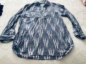 Subtle Luxury Cottagecore Embroidered Tunic Top Shirt Blue White Sz L/XL