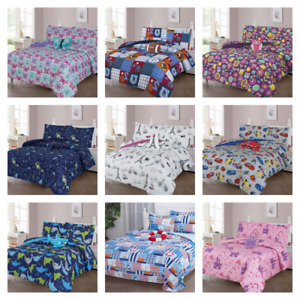 BOYS GIRLS TEENS TODDLERS REVERSIBLE PRINTED/SOLID BED COMFORTER AND SHEET SET