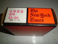 April 11-20, 1952 New York Times on MICROFILM - 1 reel of film