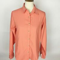 WHITE SIERRA Orange Ripstop Poly LS Button Down Hiking Outdoor Shirt - Size M