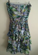 NWT $129.95 sz 8 Sportsgirl Womens Butterfly Wing Print Strapless Silk Dress